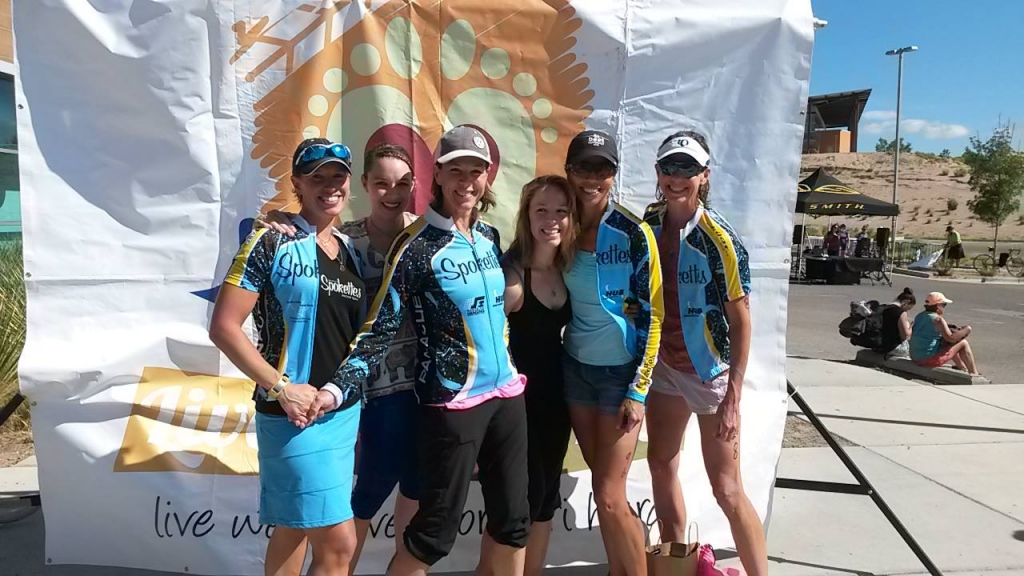 Posing at a fun triathlon
